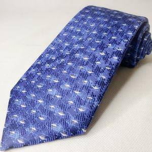 Robert Talbott Tie Blue Geometric Art New